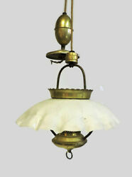 UNIQUE ANTIQUE HANGING BRASS CHANDELIER LIGHT FIXTURE WITH GLASS SHADE GLOBE $239.99