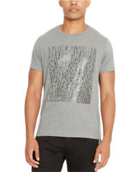 Reaction Kenneth Cole Mens Heather Grey Reflective Sketch Print T-Shirt $29 NEW