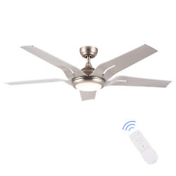 56quot; Ceiling Fan Brushed Nickel LED Light Kit Remote Control 3 Color Temperature $116.09