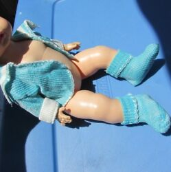 Doll Clothes Knit Rayon Set Jacket Booties Dy Dee Doll Tiny Tears 12quot; Blue 1950s $49.88
