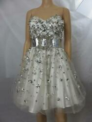 Terani White Cocktail Dress Silver Paillettes Crystals Formal Prom Size 8 $79.99