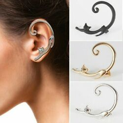 new Creative Long tailed Cat Ear Stud Cuff Wrap Cartilage Earrings Jewelry Women