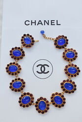 1990s CHANEL Evening Gripoix necklace with purple and blue glass paste