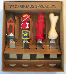 4 DOG THEMED Cheese Butter SPREADERS Crossroads Puppy Pet animal lover gift NEW