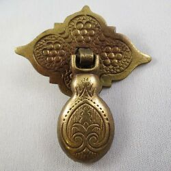Vintage Solid Brass Decorative Tear Drop Pull with Diamond Shaped Back Plate