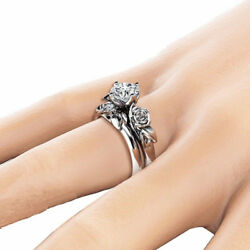 Women Rose Flower Ring Wedding Jewelry Silver Plated Rhinestone Size 5-11 LD
