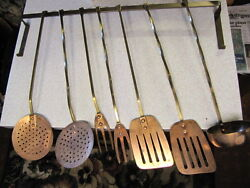 Vintage Copper Kitchen Chef Utensils With Brass Handles amp; Wall Rack 8 Pieces $50.00