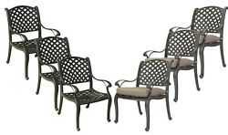 Patio dining chairs set of 6 outdoor cast aluminum furniture Nassau Bronze