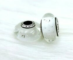 2 pieces Pandora silver 925 White Clear CZ Glass Look  Murano Beads Charm