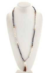 Marlyn Schiff White Turquoise Lapis Lazuli Beaded Tasseled Necklace $128 NEW