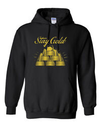 Men Black Stay Gold Design Adult Hoodie Apparel Pullover Sweatshirt Funny $19.99