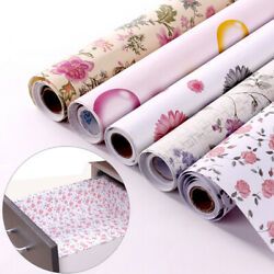 Floral Contact Paper Vinyl Self Adhesive Wallpaper Roll Drawer Shelf Liner Decor