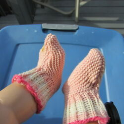 Dy Dee Baby Doll Clothes Knit Booties Socks Vintage Tiny Tears Pink 15quot; 18quot; $26.27
