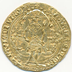 FRANCE GOLD FRANC A PIED 1365 LIMOGES MINT CHARLES V - VERY RARE!