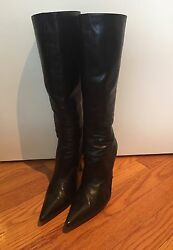 JIMMY CHOO BLACK BOOTS LEATHER MID-CALF BOOTS GARDEN SIZE 8