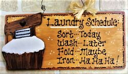 LAUNDRY ROOM SCHEDULE SIGN Scrub Tub Country Decor Wall Hanger Home Plaque $14.45