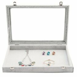 Velvet Jewelry Display Box Storage Holder Glass Lid Clear