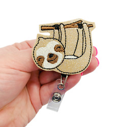 Glitter Vinyl Sloth Retractable Badge Reel Holder Clip Animal ID Charm Cover