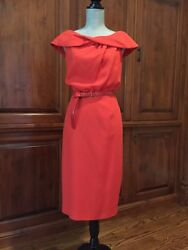 Escada Runway Dress Silk Pique Size 36 $2050 wedding gorgeous