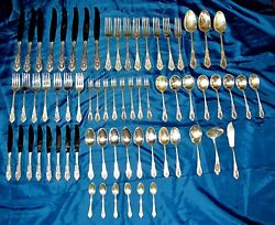 Rose Point by Wallace Sterling Silver Flatware For 8 - 67 pieces 1993 grams