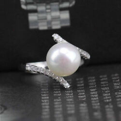White Pearl Silver Plated Wedding Engagement CZ Ring Vintage Jewelry Size 6-10