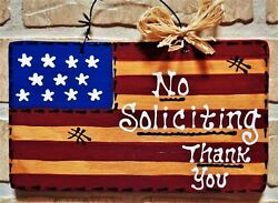 NO SOLICITING Americana Flag SIGN Rustic Wall Hanger Home Patriotic Plaque Decor $13.95