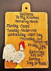 ROOSTER SIGN Kitchen Operating Hours WALL HANGER PLAQUE Country Chicken Decor $14.45
