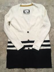 Angel Of The North Womens Long Cardigan Sweater Ivory Black Stripes S Anthro $14.99