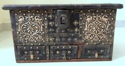 Antique handmade brass embossed peacock strip fitted wooden big jewelry box