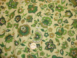 Vintage Cotton Fabric SHADES OF GREEN amp; GOLD FLORAL ON GREEN 1 Yd $12.00