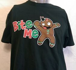 Funny Christmas Novelty Cookie quot;Bite Mequot; Shirt Size Large Office Work Party Xmas $16.99