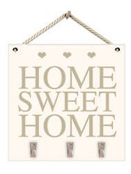 Wooden White and Gold Home Sweet Home Hanging Plaque With Key Hooks