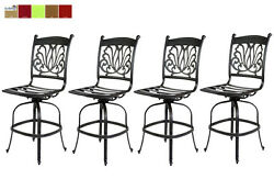 Outdoor Bar Stools Set of 4 Swivels Seat Cast Aluminum Patio Furniture Sunbrella