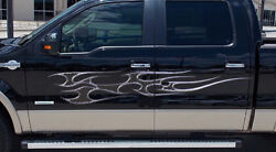 Chrome grill flames vinyl auto decal graphics for cars trucks and boats #b744