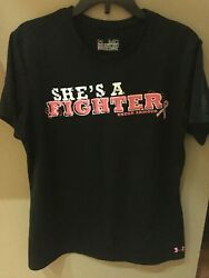 UNDER ARMOUR Heat Gear Breast Cancer Athletic Shirt Top SHES A FIGHTER Medium M