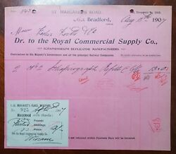 1907 The Royal Commercial Supply Co. St. Margarets Rd Bradford. Invoice