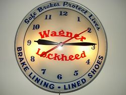 WAGNER LOCKHEED BRAKES Double Bubble Lighted Vintage Advertising Man Cave Clock
