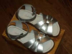 New Salt Water Sandalsoriginal style silver metallic leather tod. 8NIB $35.99