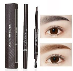 2 Pack Eyebrow Pencil Retractable Slant Tip with Brush Double-end Waterproof US $6.49