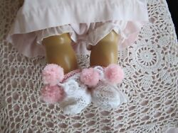 DARLING POM POM BOOTIES MADE FOR 18quot; TINY TEARS BETSY WETSY EFFANBEE OR SIMILIAR $18.99