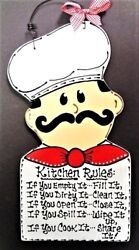 FAT CHEF Kitchen Rules Sign Plaque Bistro Cucina Wall Art Hanger Italian Decor $14.45