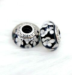2 Pandora silver 925 Ale  White Black  Orchid Flower Murano Charm  Beads