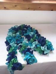 Estate Handmade Shades of Blue amp; Green Knit Ruffle Thin Neck Scarf 74 inches $8.09