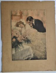 C CLYDE SQUIRES ANTIQUE PRINT HAND COLORED HER GIFT MOTHER & FATHER