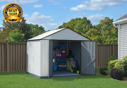 Outdoor Garden Storage Shed Steel 10 x 8 ft. Galvanized Extra High Gable