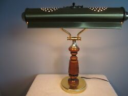 Vintage PianoDesk Lamp Brass Wood Walnut Bankers Scroll Shade Table Lamp