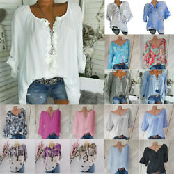 Plus Size Women V Neck Summer Tops Long Sleeve Tunic Baggy Loose Blouse T Shirts
