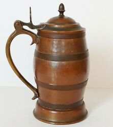 Antique Hammered Copper Beer Stein Tankard Arts & Crafts Style Hand Made