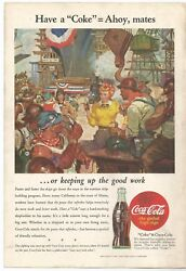 1944 COCA-COLA Original Coke Ad Wartime Ship Building Yard Man Cave She Shed