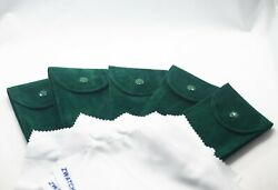 Pack of 5 Green Velvet Watch Pouch w Premium Microfiber Fits Rolex and Others